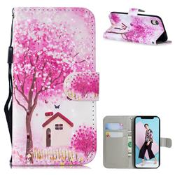 Tree House 3D Painted Leather Wallet Phone Case for iPhone Xr (6.1 inch)