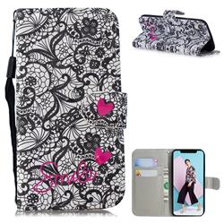 Lace Flower 3D Painted Leather Wallet Phone Case for iPhone Xr (6.1 inch)
