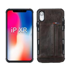 Luxury Shatter-resistant Leather Coated Card Phone Case for iPhone Xr (6.1 inch) - Coffee