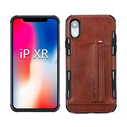 Luxury Shatter-resistant Leather Coated Card Phone Case for iPhone Xr (6.1 inch) - Brown