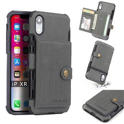 Brush Multi-function Leather Phone Case for iPhone Xr (6.1 inch) - Gray