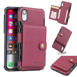 Brush Multi-function Leather Phone Case for iPhone Xr (6.1 inch) - Wine Red