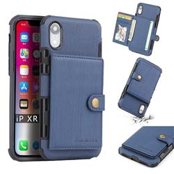 Brush Multi-function Leather Phone Case for iPhone Xr (6.1 inch) - Blue