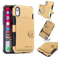 Brush Multi-function Leather Phone Case for iPhone Xr (6.1 inch) - Golden