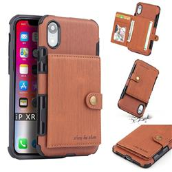 Brush Multi-function Leather Phone Case for iPhone Xr (6.1 inch) - Brown