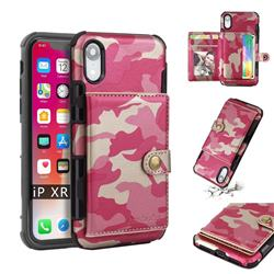 Camouflage Multi-function Leather Phone Case for iPhone Xr (6.1 inch) - Rose