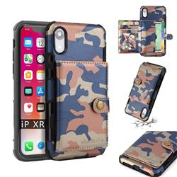 Camouflage Multi-function Leather Phone Case for iPhone Xr (6.1 inch) - Blue