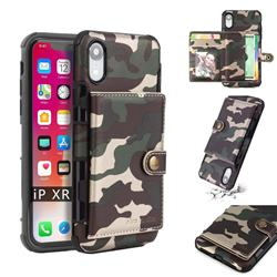 Camouflage Multi-function Leather Phone Case for iPhone Xr (6.1 inch) - Army Green