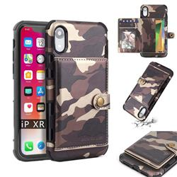 Camouflage Multi-function Leather Phone Case for iPhone Xr (6.1 inch) - Coffee