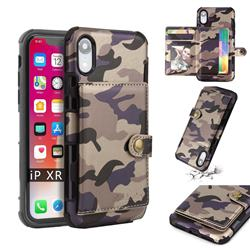 Camouflage Multi-function Leather Phone Case for iPhone Xr (6.1 inch) - Purple