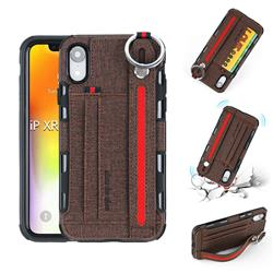British Style Canvas Pattern Multi-function Leather Phone Case for iPhone Xr (6.1 inch) - Brown