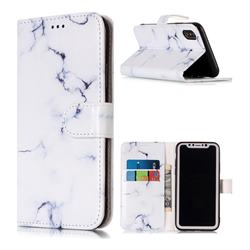 Soft White Marble PU Leather Wallet Case for iPhone Xr (6.1 inch)