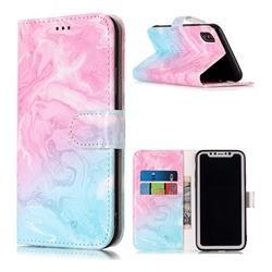 Pink Green Marble PU Leather Wallet Case for iPhone Xr (6.1 inch)