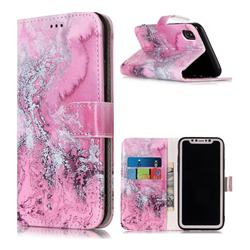 Pink Seawater PU Leather Wallet Case for iPhone Xr (6.1 inch)
