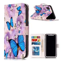 Purple Flowers Butterfly 3D Relief Oil PU Leather Wallet Case for iPhone Xr (6.1 inch)