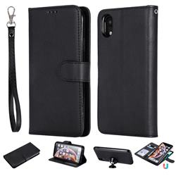 Retro Greek Detachable Magnetic PU Leather Wallet Phone Case for iPhone Xr (6.1 inch) - Black