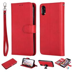 Retro Greek Detachable Magnetic PU Leather Wallet Phone Case for iPhone Xr (6.1 inch) - Red