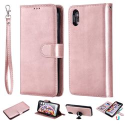Retro Greek Detachable Magnetic PU Leather Wallet Phone Case for iPhone Xr (6.1 inch) - Rose Gold