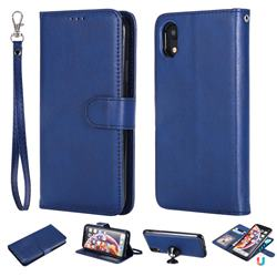 Retro Greek Detachable Magnetic PU Leather Wallet Phone Case for iPhone Xr (6.1 inch) - Blue