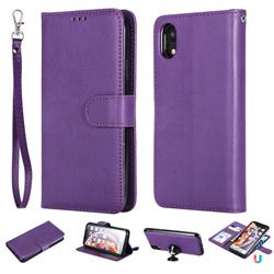 Retro Greek Detachable Magnetic PU Leather Wallet Phone Case for iPhone Xr (6.1 inch) - Purple