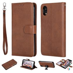 Retro Greek Detachable Magnetic PU Leather Wallet Phone Case for iPhone Xr (6.1 inch) - Brown