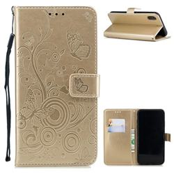Intricate Embossing Butterfly Circle Leather Wallet Case for iPhone Xr (6.1 inch) - Champagne