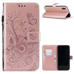 Intricate Embossing Butterfly Circle Leather Wallet Case for iPhone Xr (6.1 inch) - Rose Gold
