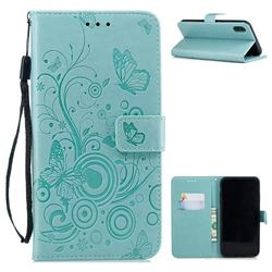 Intricate Embossing Butterfly Circle Leather Wallet Case for iPhone Xr (6.1 inch) - Cyan