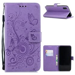 Intricate Embossing Butterfly Circle Leather Wallet Case for iPhone Xr (6.1 inch) - Purple