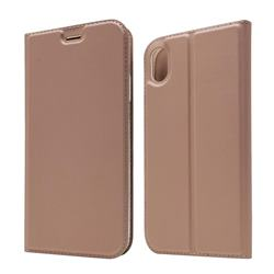 Ultra Slim Card Magnetic Automatic Suction Leather Wallet Case for iPhone Xr (6.1 inch) - Rose Gold