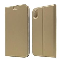 Ultra Slim Card Magnetic Automatic Suction Leather Wallet Case for iPhone Xr (6.1 inch) - Champagne