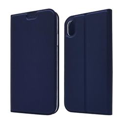 Ultra Slim Card Magnetic Automatic Suction Leather Wallet Case for iPhone Xr (6.1 inch) - Royal Blue