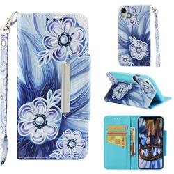 Button Flower Big Metal Buckle PU Leather Wallet Phone Case for iPhone Xr (6.1 inch)
