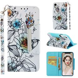 Fotus Flower Big Metal Buckle PU Leather Wallet Phone Case for iPhone Xr (6.1 inch)