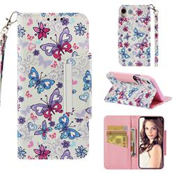 Colored Butterfly Big Metal Buckle PU Leather Wallet Phone Case for iPhone Xr (6.1 inch)
