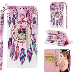 Owl Wind Chimes Big Metal Buckle PU Leather Wallet Phone Case for iPhone Xr (6.1 inch)