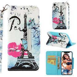 Lip Tower Big Metal Buckle PU Leather Wallet Phone Case for iPhone Xr (6.1 inch)