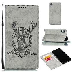 Retro Intricate Embossing Elk Seal Leather Wallet Case for iPhone Xr (6.1 inch) - Gray