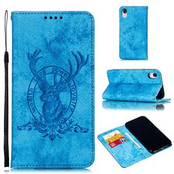 Retro Intricate Embossing Elk Seal Leather Wallet Case for iPhone Xr (6.1 inch) - Blue