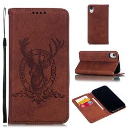 Retro Intricate Embossing Elk Seal Leather Wallet Case for iPhone Xr (6.1 inch) - Brown