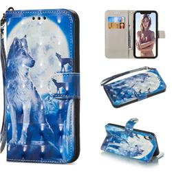 Ice Wolf 3D Painted Leather Wallet Phone Case for iPhone Xr (6.1 inch)