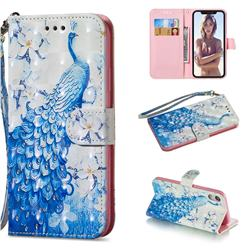 Blue Peacock 3D Painted Leather Wallet Phone Case for iPhone Xr (6.1 inch)