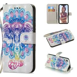 Colorful Elephant 3D Painted Leather Wallet Phone Case for iPhone Xr (6.1 inch)