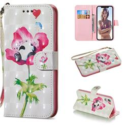 Flower Panda 3D Painted Leather Wallet Phone Case for iPhone Xr (6.1 inch)