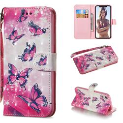 Pink Butterfly 3D Painted Leather Wallet Phone Case for iPhone Xr (6.1 inch)
