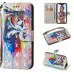 Watercolor Owl 3D Painted Leather Wallet Phone Case for iPhone Xr (6.1 inch)