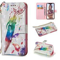 Music Pen 3D Painted Leather Wallet Phone Case for iPhone Xr (6.1 inch)