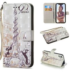 Tower Couple 3D Painted Leather Wallet Phone Case for iPhone Xr (6.1 inch)