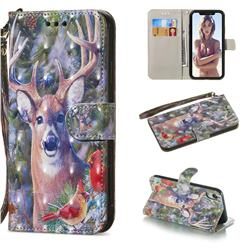 Elk Deer 3D Painted Leather Wallet Phone Case for iPhone Xr (6.1 inch)