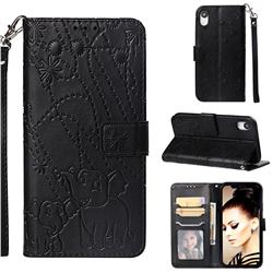 Embossing Fireworks Elephant Leather Wallet Case for iPhone Xr (6.1 inch) - Black